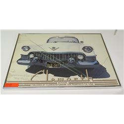 Framed Print: Cleworth Editions 1950's Cadillac Signed (cracked glass)