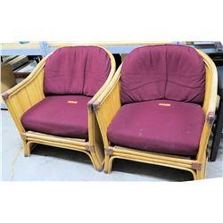 Qty 2 Wicker Chairs w/ Purple Cushions