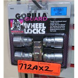 "2 Packs of Gorilla Acorn Wheel Locks 61681 1/2"""