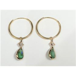 14K Yellow Gold Emerald(1.5ct) Diamond(0.23ct) Earrings (~weight 0.82g), Made in Canada, Appraised R