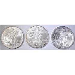 2-2005 & 1-2007 UNC AMERICAN SILVER EAGLES