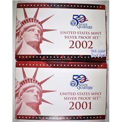 2001 & 2002 U.S. SILVER PROOF SETS ORIG PACKAGING