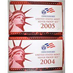 2004 & 2005 U.S. SILVER PROOF SETS ORIG PACKAGING