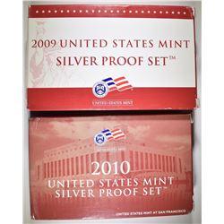 2009 & 2010 U.S. SILVER PROOF SETS ORIG PACKAGING