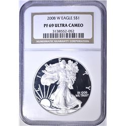 2008-W SILVER EAGLE, NGC PF-69 ULTRA CAMEO