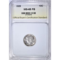 1929 MERCURY DIME OBCS GEM BU FB