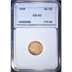 1908 $2.5 GOLD INDIAN  NNC CH BU