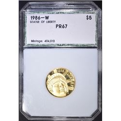 1986-W $5 GOLD STATUE OF LIBERTY PCI SUPERB GEM