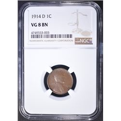 1914-D LINCOLN CENT  NGC VG-8 BN