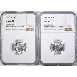 2-1947-S ROOSEVELT DIMES, NGC MS-66 FT