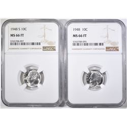 1948-P&S ROOSEVELT DIMES, NGC MS-66 FT