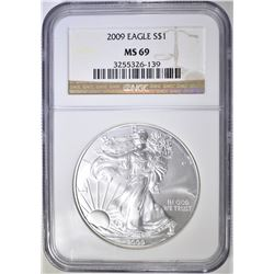 2009 AMERICAN SILVER EAGLE, NGC MS-69