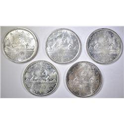 5-BU 1966 CANADIAN SILVER DOLLARS