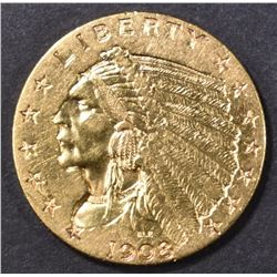 1908 $2.50 GOLD INDIAN, BU