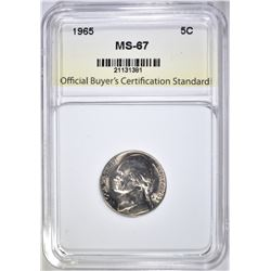 1965 JEFFERSON NICKEL, OBCS SUPERB GEM BU