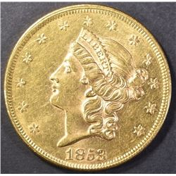 1853 $20 GOLD LIBERTY TYPE 1 CH BU