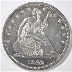 1842 SEATED LIBERTY HALF DOLLAR  AU/BU