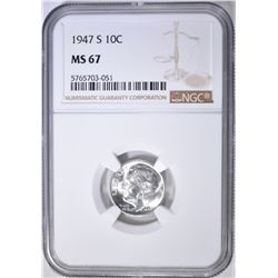 1947-S ROOSEVELT DIME, NGC MS-67