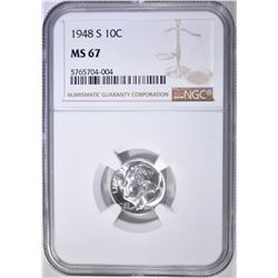 1948-S ROOSEVELT DIME, NGC MS-67