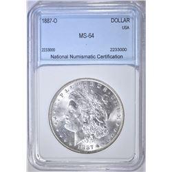 1887-O MORGAN DOLLAR, NNC CH/GEM BU