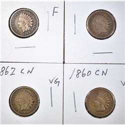 1860, 62, 63 VG & 1864 F CN INDIAN CENTS