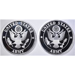 2-ARMY ONE OUNCE .999 SILVER ROUNDS