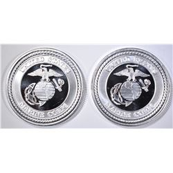 2-MARINES ONE OUNCE .999 SILVER ROUNDS