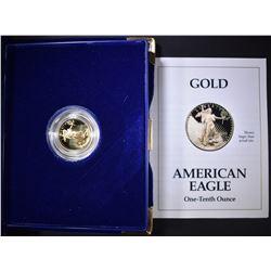 1993 1/10th OUNCE PROOF GOLD EAGLE IN ORIG BOX/COA