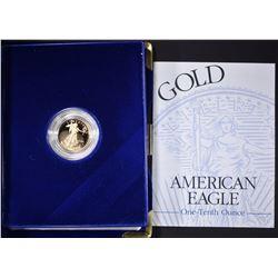 1995 1/10th OUNCE PROOF GOLD EAGLE IN ORIG BOX/COA