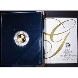 2005 1/10th OUNCE PROOF GOLD EAGLE IN ORIG BOX/COA