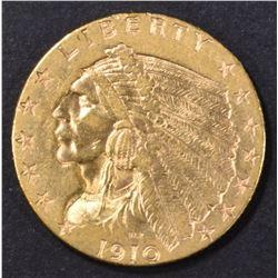1910 $2.5 GOLD INDIAN AU/BU