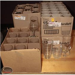 FOUR CASES OF NEW ASSORTED GLASSWARE