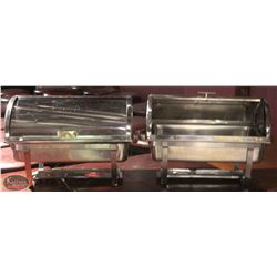 2 STAINLESS STEEL ROLL TOP CHAFING DISHES