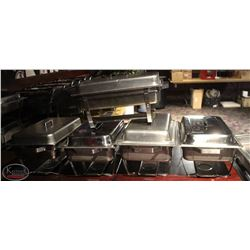 5 LARGE STAINLESS STEEL CHAFING DISHES