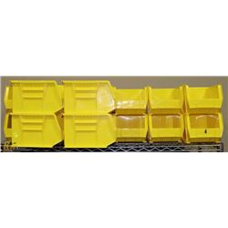 LARGE LOT OF YELLOW STACKABLE AKRO BINS