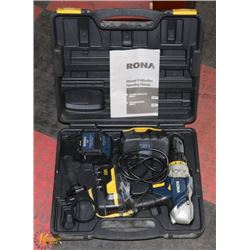 RONA 18V DRILL WITH TWO BATTERIES, CHARGER, CASE