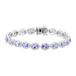 7.57 ctw Tanzanite and Diamond Bracelet - 18KT White Gold