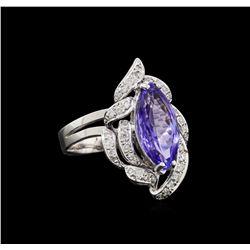 4.52 ctw Tanzanite and Diamond Ring - 14KT White Gold