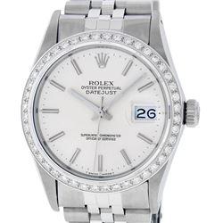 Rolex Mens Stainless Steel Silver Index 36MM Diamond Datejust Wristwatch