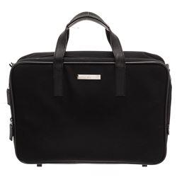 Gucci Black Nylon Leather Trim Dual Handle Briefcase