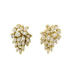 5.80 ctw Diamond Pendant and Earrings Set - 14KT Yellow Gold