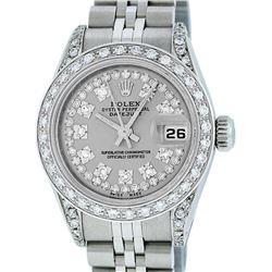 Rolex Ladies Stainless Steel 26MM Slate Grey String Diamond Lugs Datejust Wristw