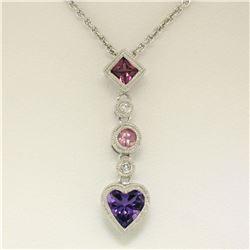14K White Gold Heart Amethyst Tourmaline Pink Sapphire Diamond Dangle Pendant