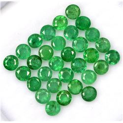 Natural Emerald 3 MM Round Cut Green Loose Gemstone 100 Pieces Lot