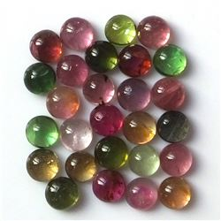 100% Natural 5 mm Multi Color Tourmaline Round Cabochon Loose Gemstone 100 Pieces Lot