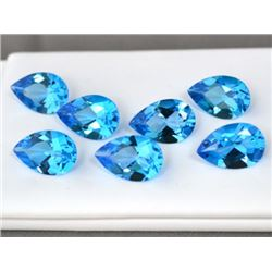 Natural Swiss Blue Topaz 7x10mm Pear Cut Loose Gemstone 10 Pieces Lot