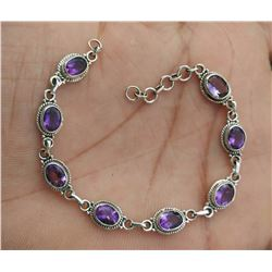 Beautiful Natural Amethyst Handmade 925 Sterling Silver Bracelet Jewelry 7.700g