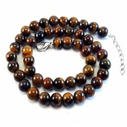 Natural Tiger's Eye Gemstone 8 mm Round Beads Necklace Jewelry 16""