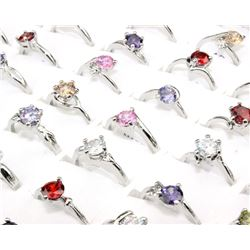 100 Pcs Wholesale Lot Multi Color Zircon Gemstone Silver Plated Rings Size 6-9