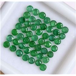 Natural Emerald 2 MM Round Cut Green Loose Gemstone 100 Pieces Lot